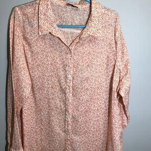 old navy bouse white with pink flowers women xxl